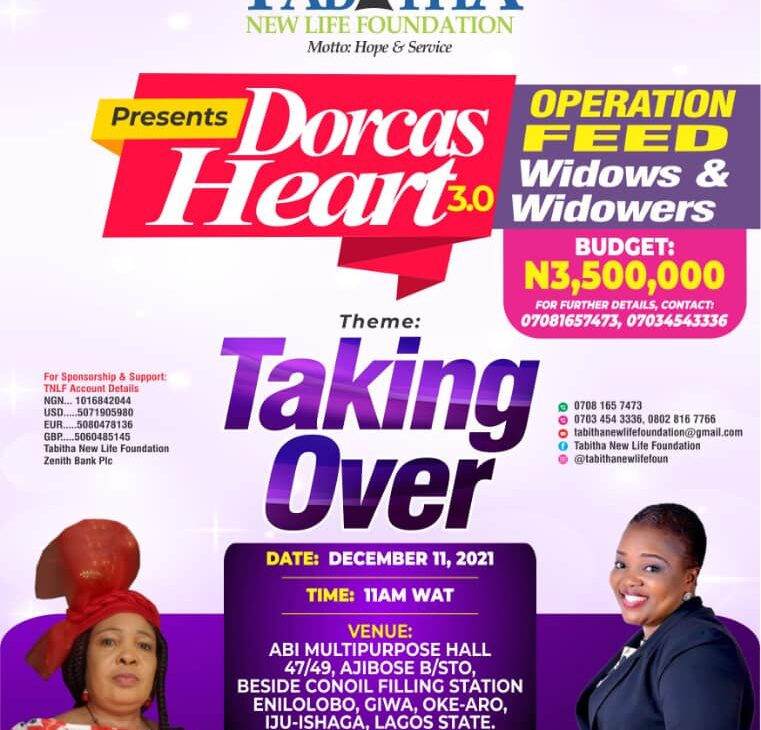 """Tabitha New Life Foundation's Annual Programme -""""DORCAS HEART 3.0 tagged: """"TAKING OVER"""" scheduled to hold December 11 2021"""